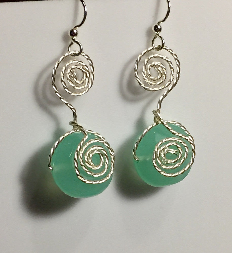 Sea Foam Green Chalcedony Spiral Earrings