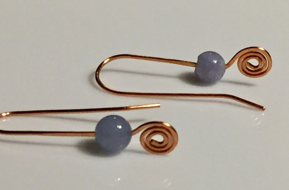 Aquamarine Copper Spiral Earrings
