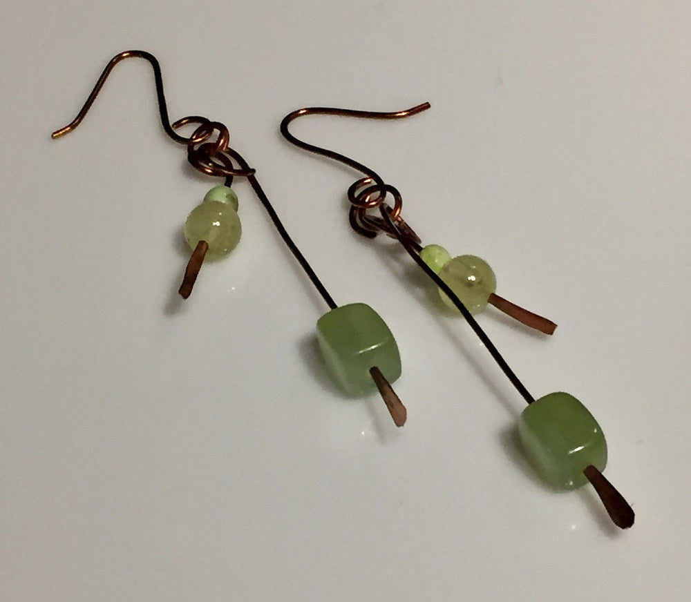 Jade Antique Copper Earrings