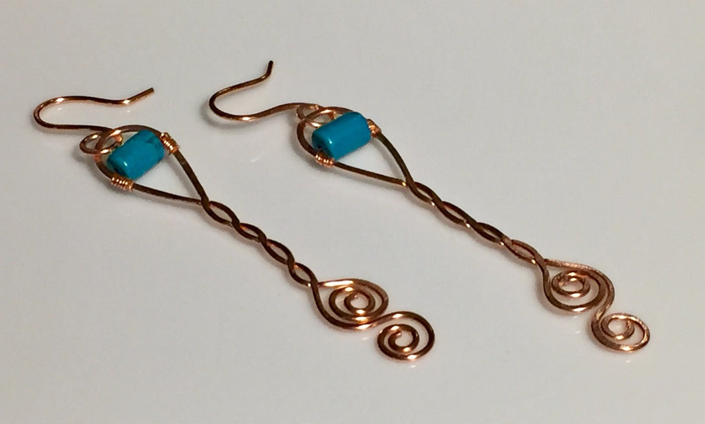Hammered Copper Spiral Turquoise Earrings