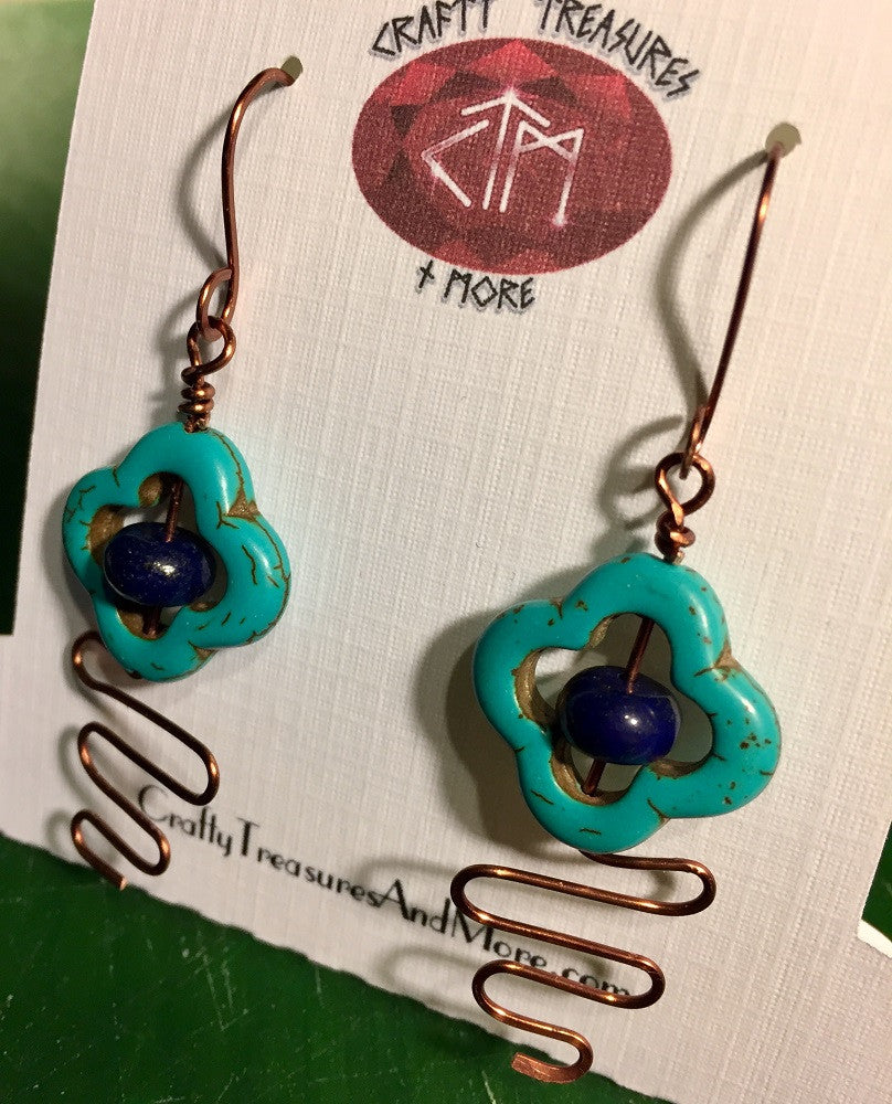 Turquoise Flowers and Lapis Lazuli Earrings
