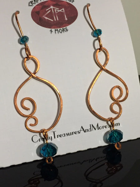 Aqua Crystal & Copper Scroll Earrings