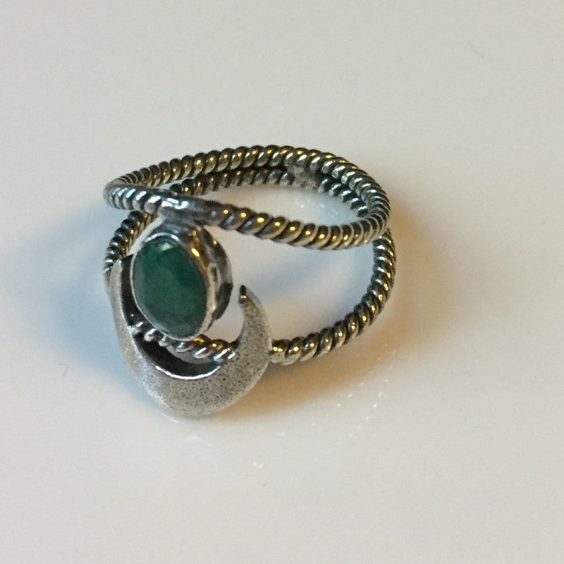 Emerald Crescent Moon Ring Size 6