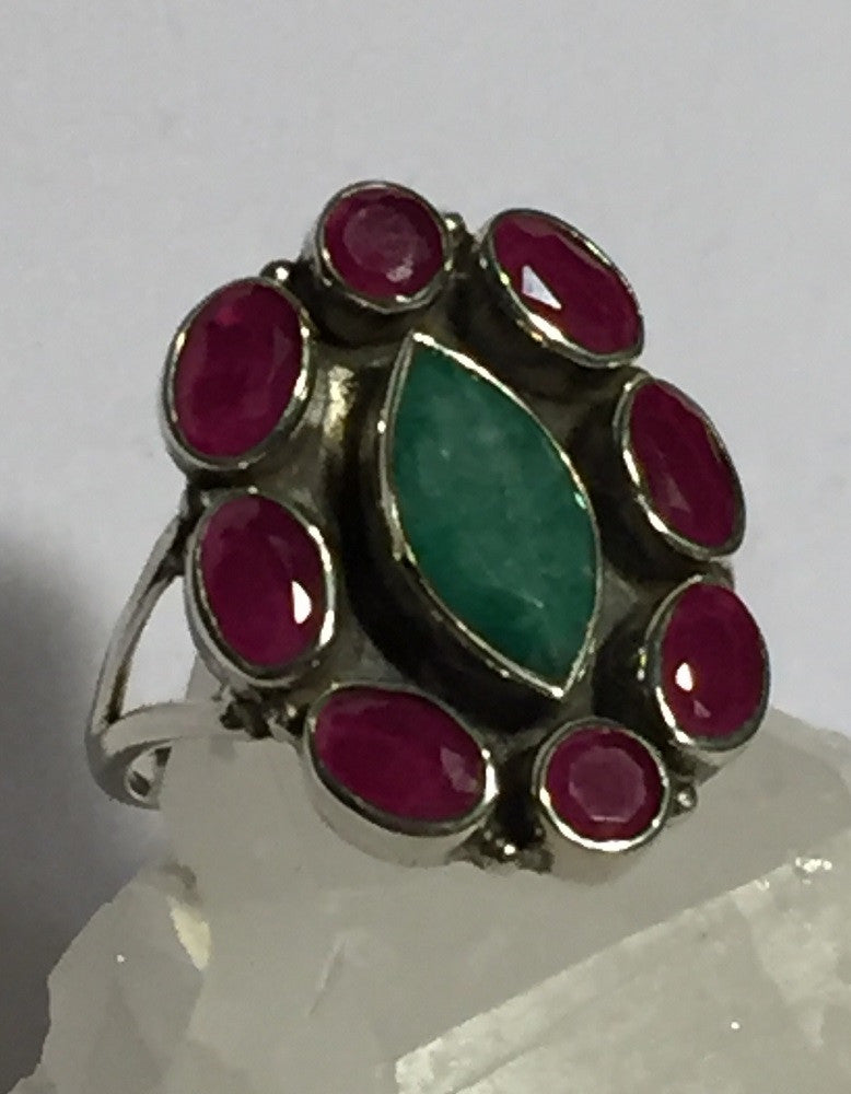 Emerald & Ruby Halo Ring Size 9