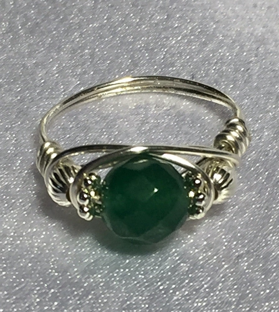 Faceted Emerald Wire-Wrap Ring (May Birthstone)