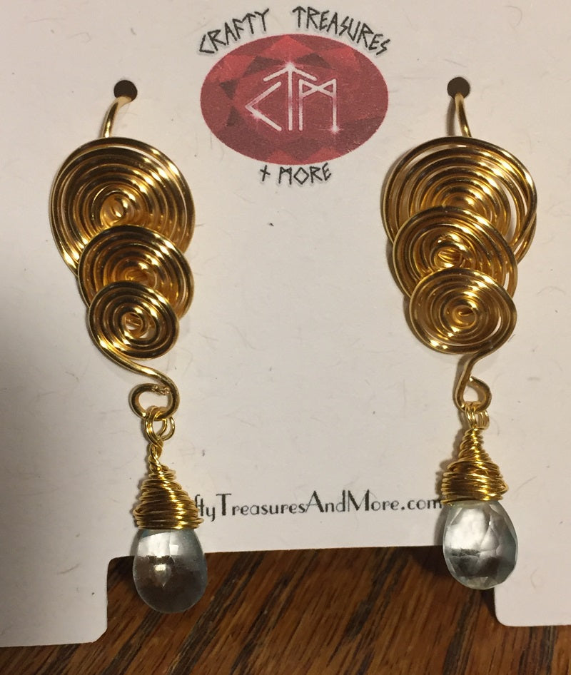 2c87ae1b961 Triple Spiral Gold Plated Earrings with Aquamarine Drops - Crafty ...
