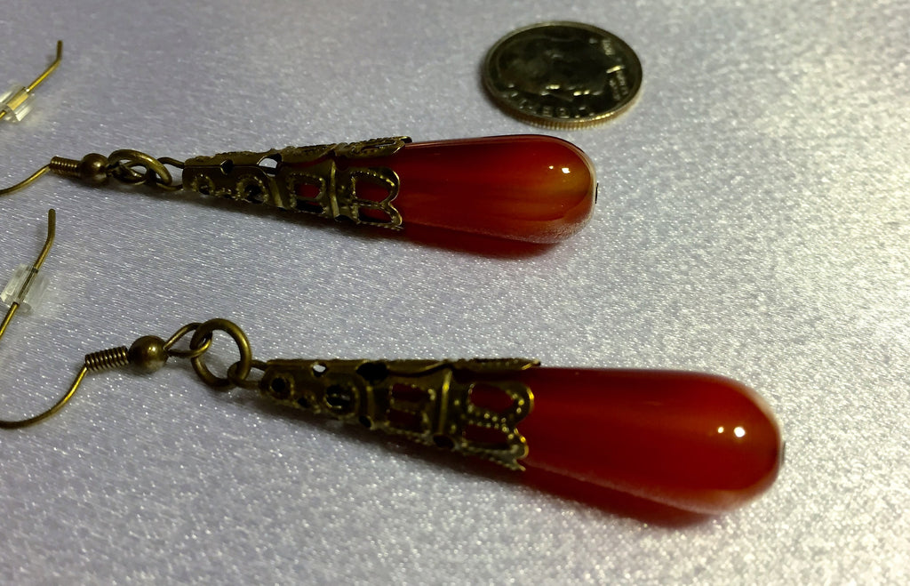 Flaming Agate Teardrop Earrings