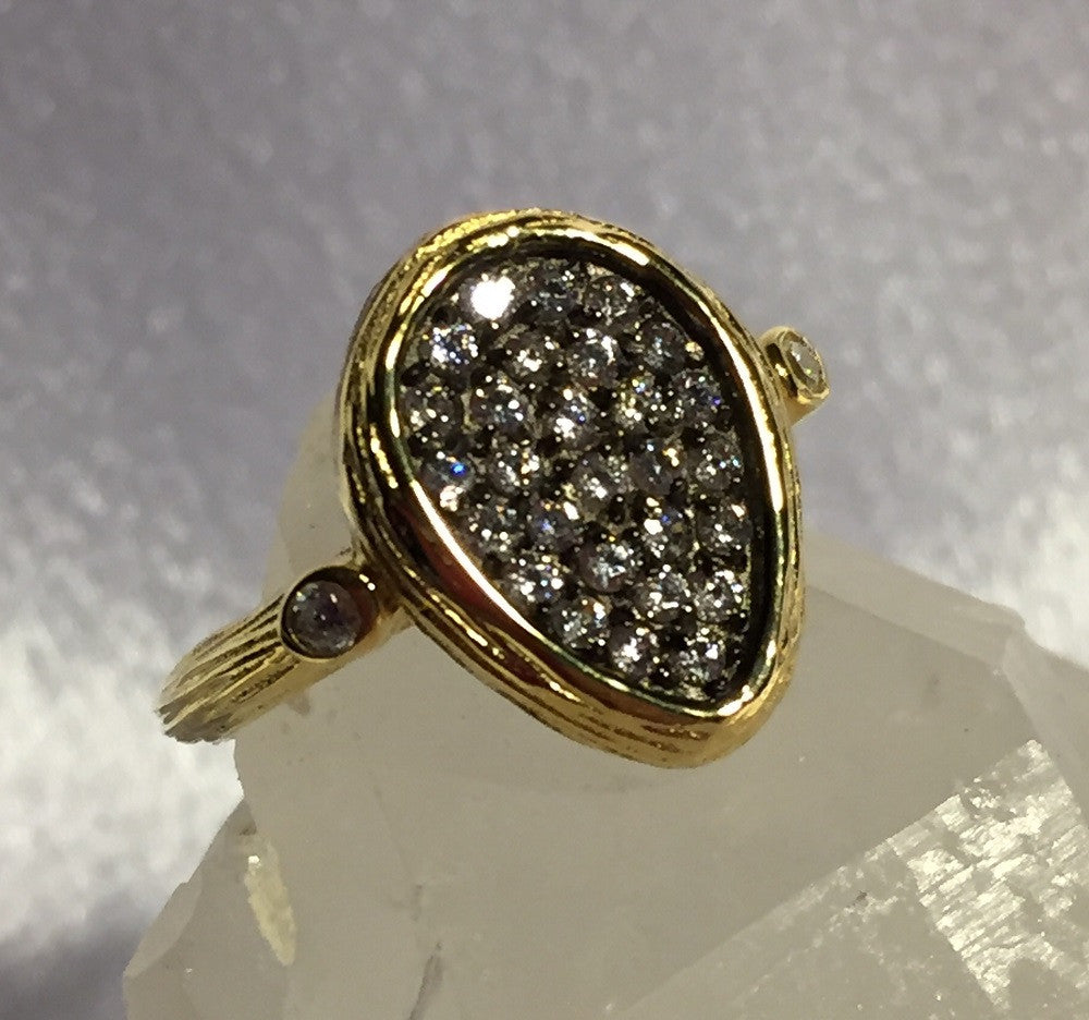 Pear-Shaped Gold Over Silver CZ Ring Size 7