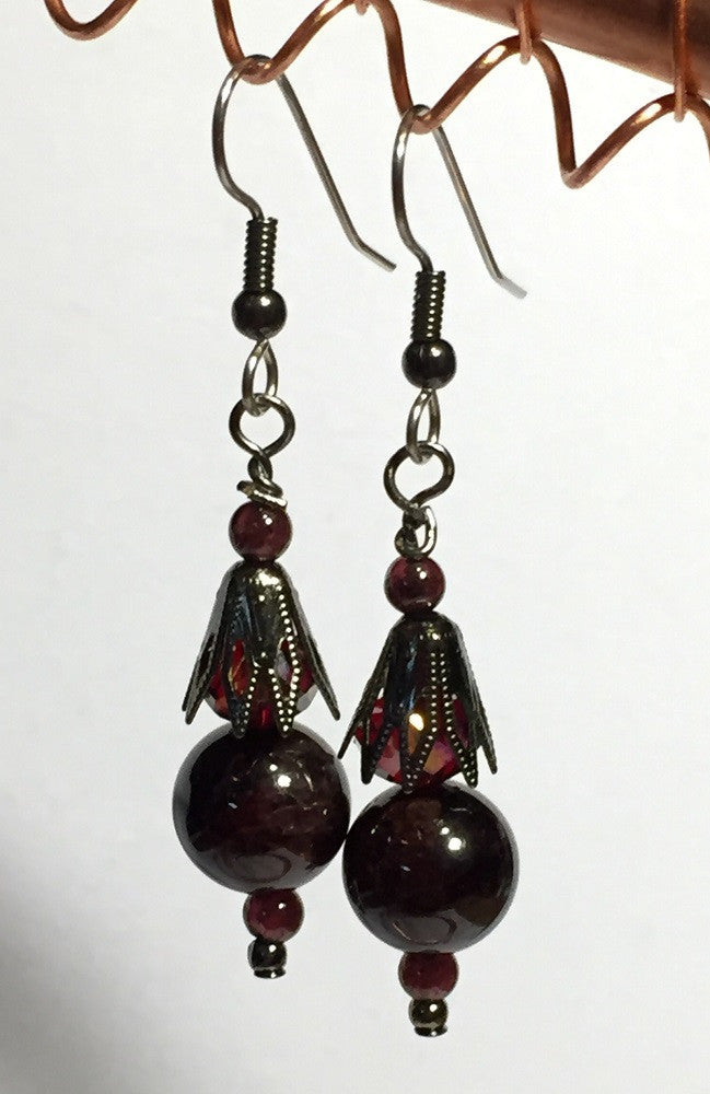 Garnets & GunMetal Crystal Ear Drops