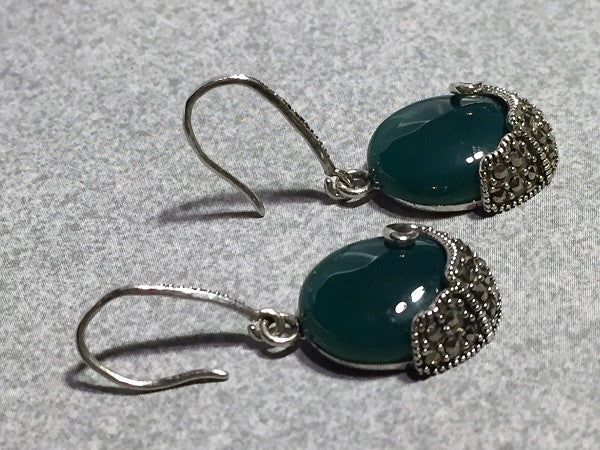 Vintage Green Agate & Marcasite Earrings