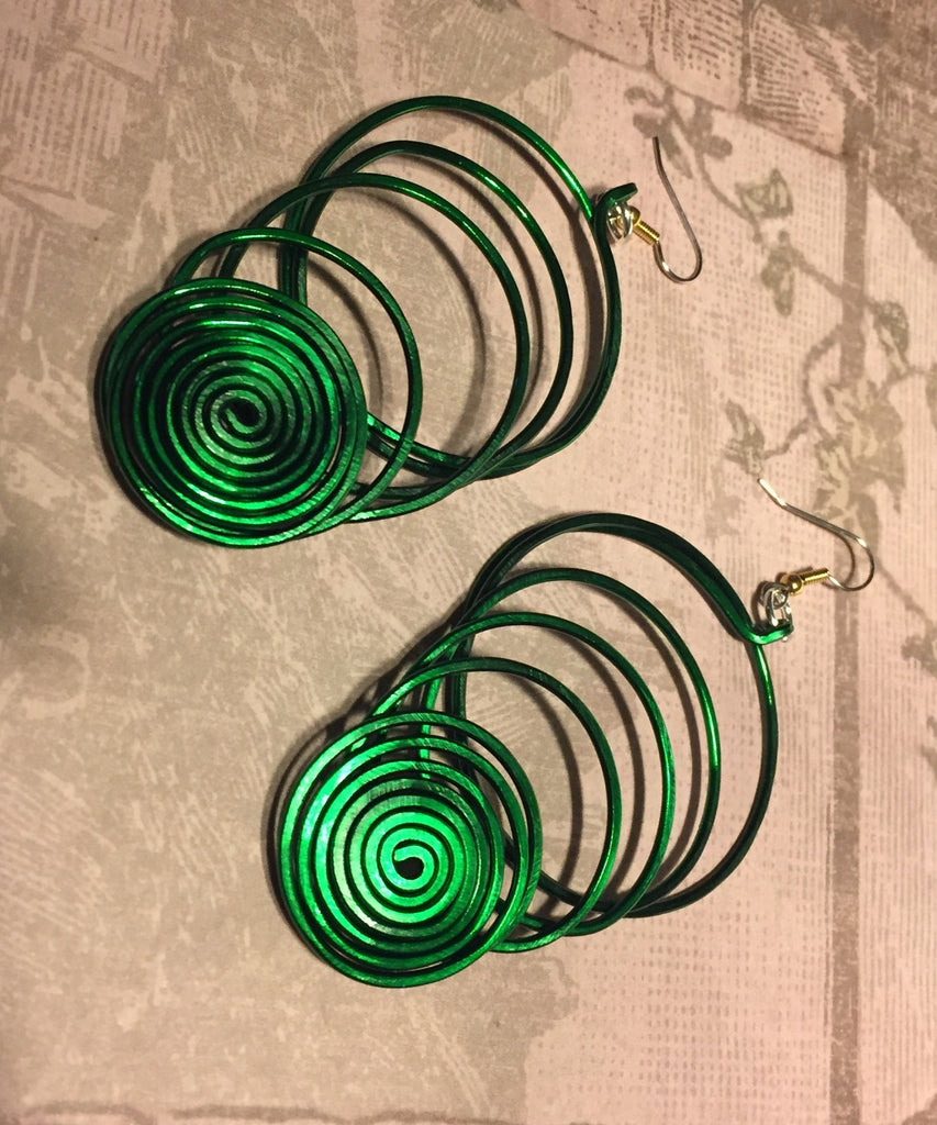 Aluminum Spiral Statement Earrings - Multiple Colors
