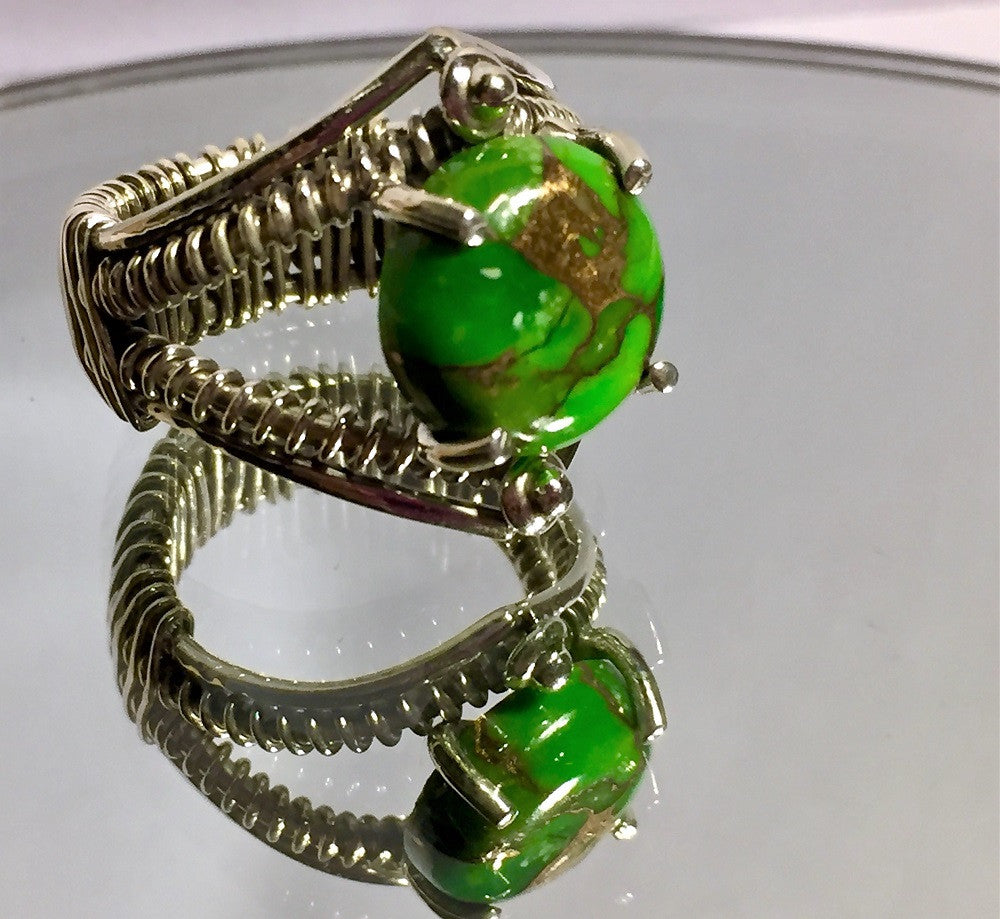 Green Copper Turquoise Heavy Silver Wrap Ring - Size 6.5