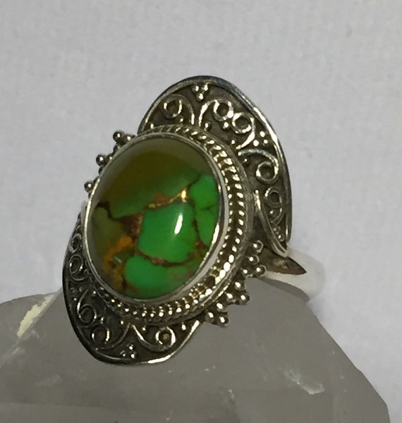 Copper Green Arizona Turquoise Ring Size 7