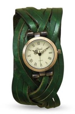 BOHO Forest Green Braided Leather Watch