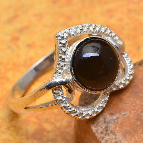 Solid Silver Heart Shaped Ring - Black Onyx - Size 8
