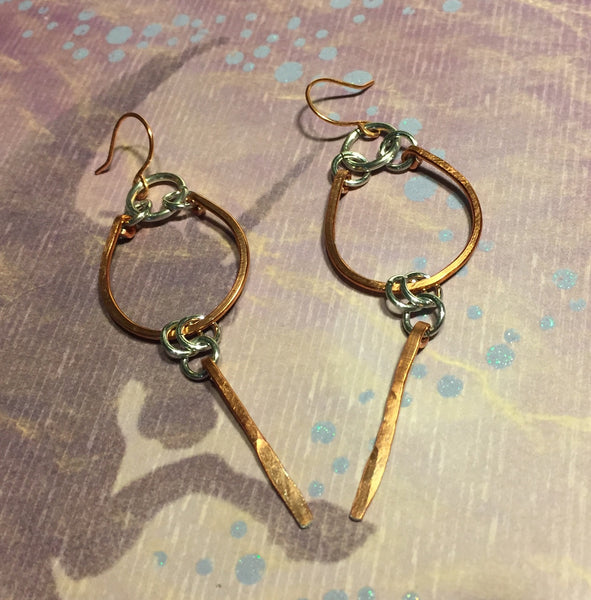 Copper Horse Shoe Earrings, Horse Lovers Earrings