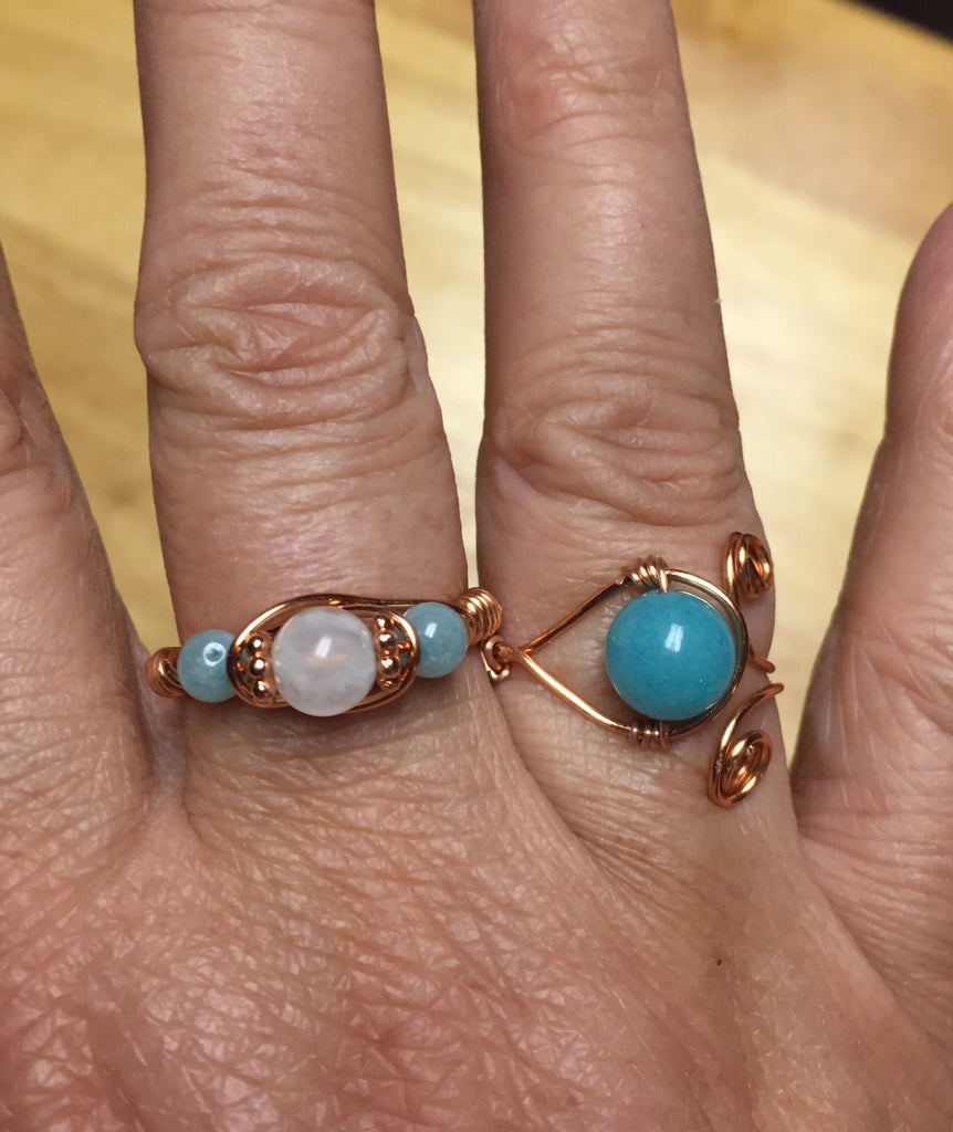 Moonstone & Amazonite Copper Wire-Wrap Ring (June Birthstone)