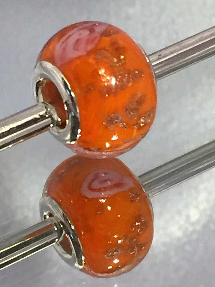 Orange Glitter Lampwork Glass Charm Bead