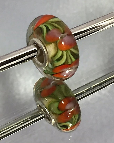 Jungle Flowers Lampwork Glass Charm Bead
