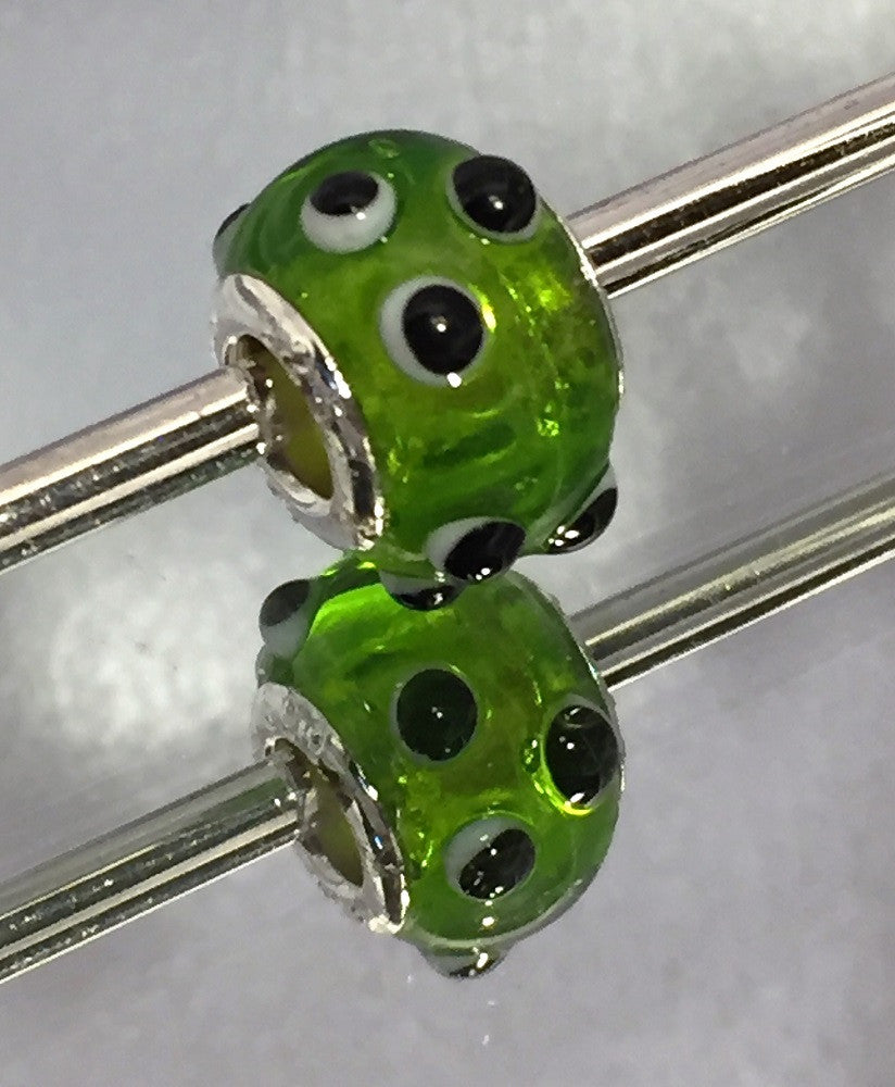 Clear Green with Black Dots Lampwork Charm Bead