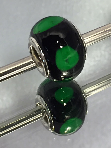 Black with Large Green Dot Lampwork Glass Charm Bead