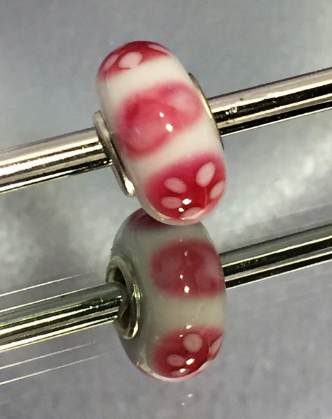 White with Reddish Pink Lampwork Glass Charm Bead