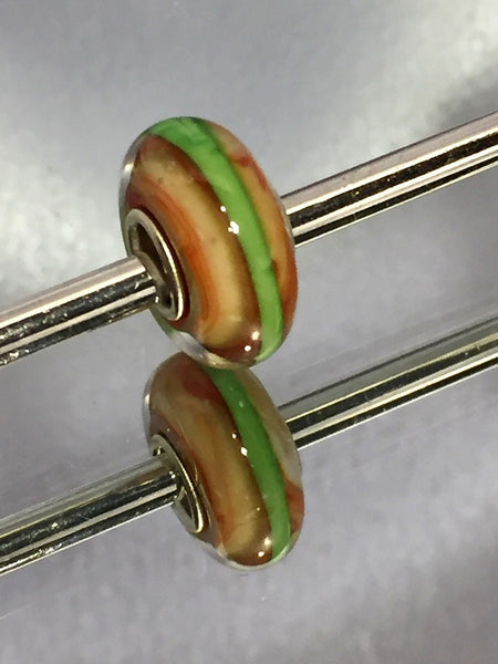 Rust with Green Stripe Lampwork Glass Charm Bead