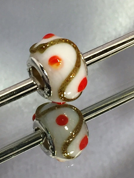 White with Gold Zigzag and Orange Dots Lampwork Glass Charm Bead