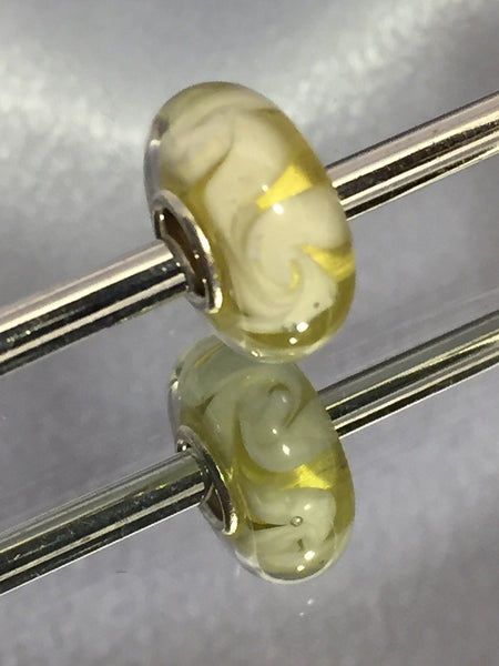 Yellow with Cream Lampwork Glass Charm Bead