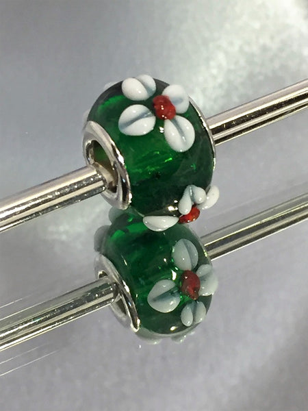 Christmas Green with White Bumpy Flower Lampwork Glass Charm Bead