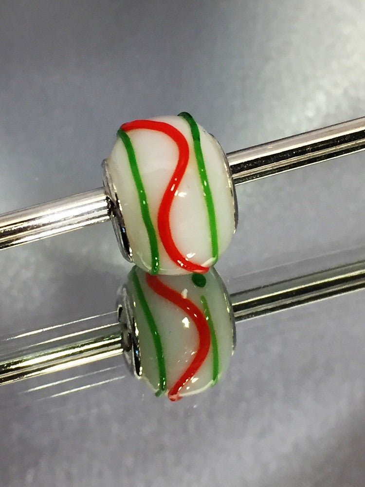 White with Green and Red Stripe Lampwork Glass Charm Bead