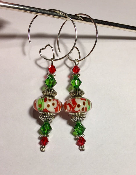 Christmas Murano Silver Lampwork & Swarovski Crystal Earrings
