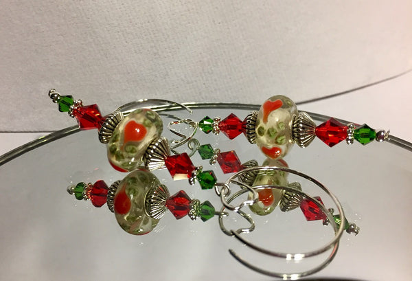 Christmas Heart Murano Lampwork & Swarovski Crystal Earrings