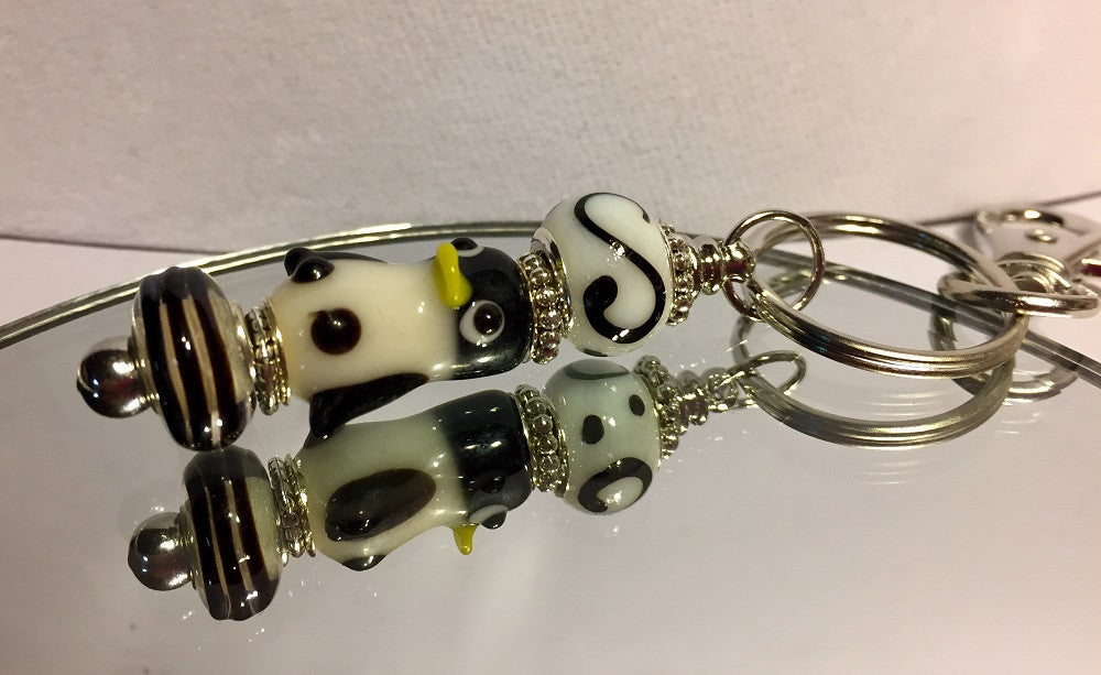Penguin Lampwork Keychain with Clip