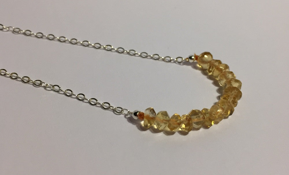 Faceted Citrine November Birthstone Necklace