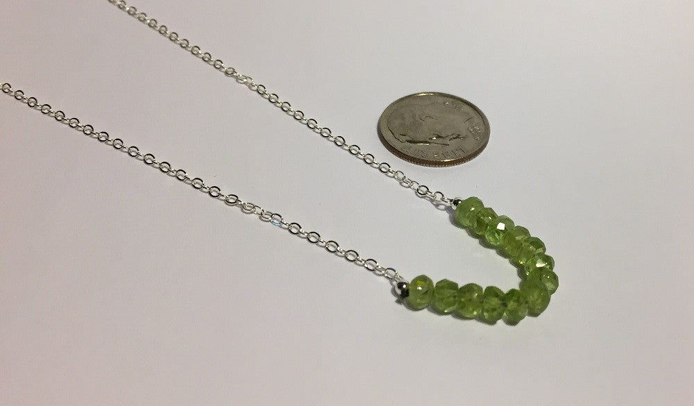 Faceted Peridot and Silver August Birthstone Necklace