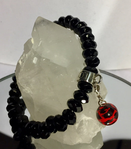 Faceted Black Onyx Stretch Charm Bracelet