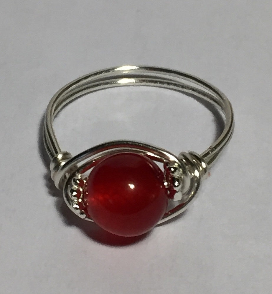 Ruby Red Jade Wire-Wrap Ring (July)