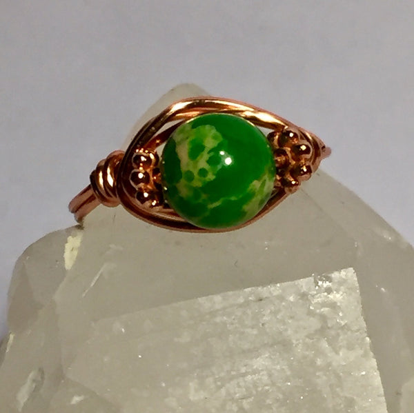 Green Sea Sediment Jasper Copper Wire-Wrap Ring