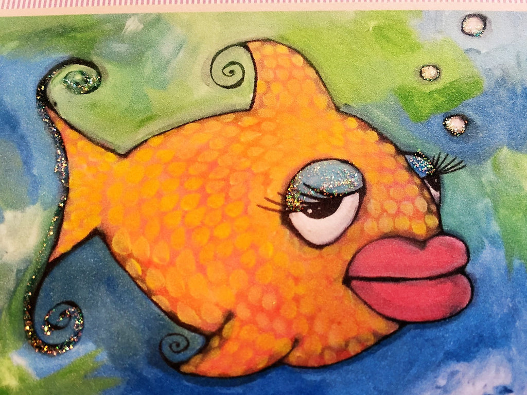 Nettie Price Sparkling Art Card-Big Lip Fish