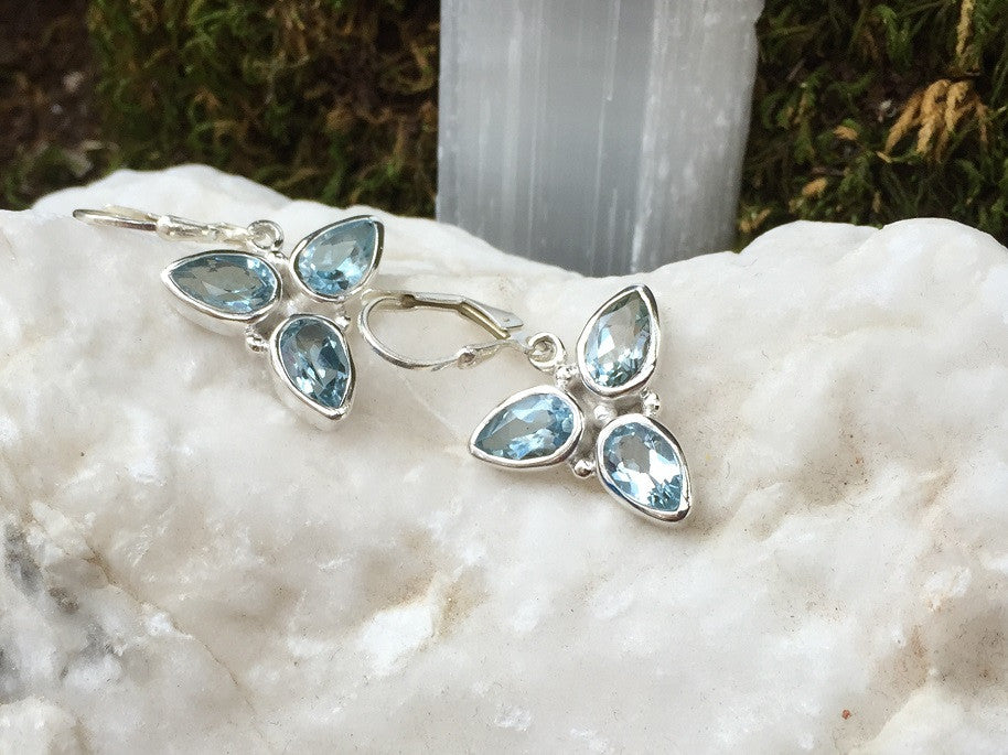Triple Pear Drop Blue Topaz Earrings