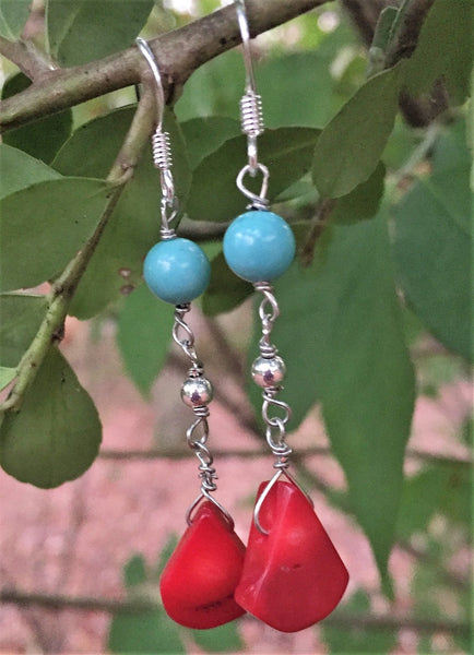 Coral & Reconstituted Turquoise Drop Earrings