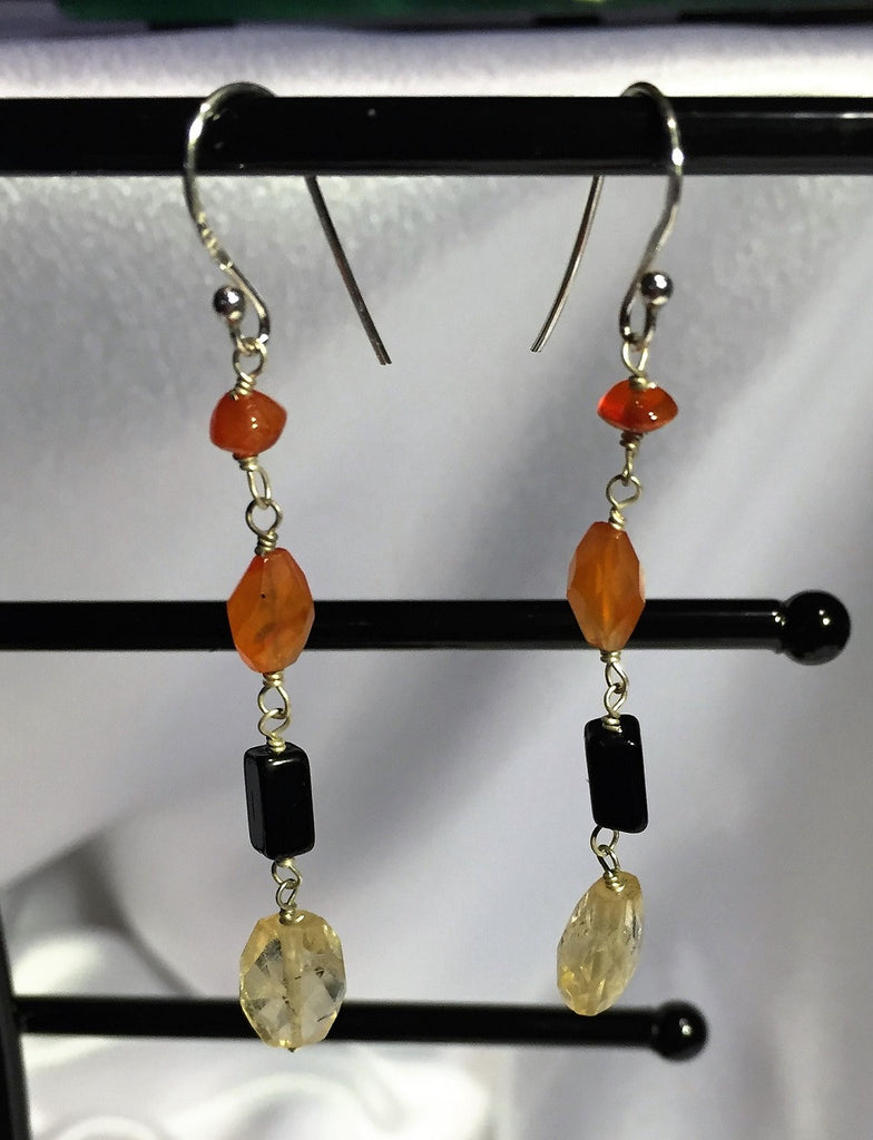 Faceted Citrine and Multistone Earrings