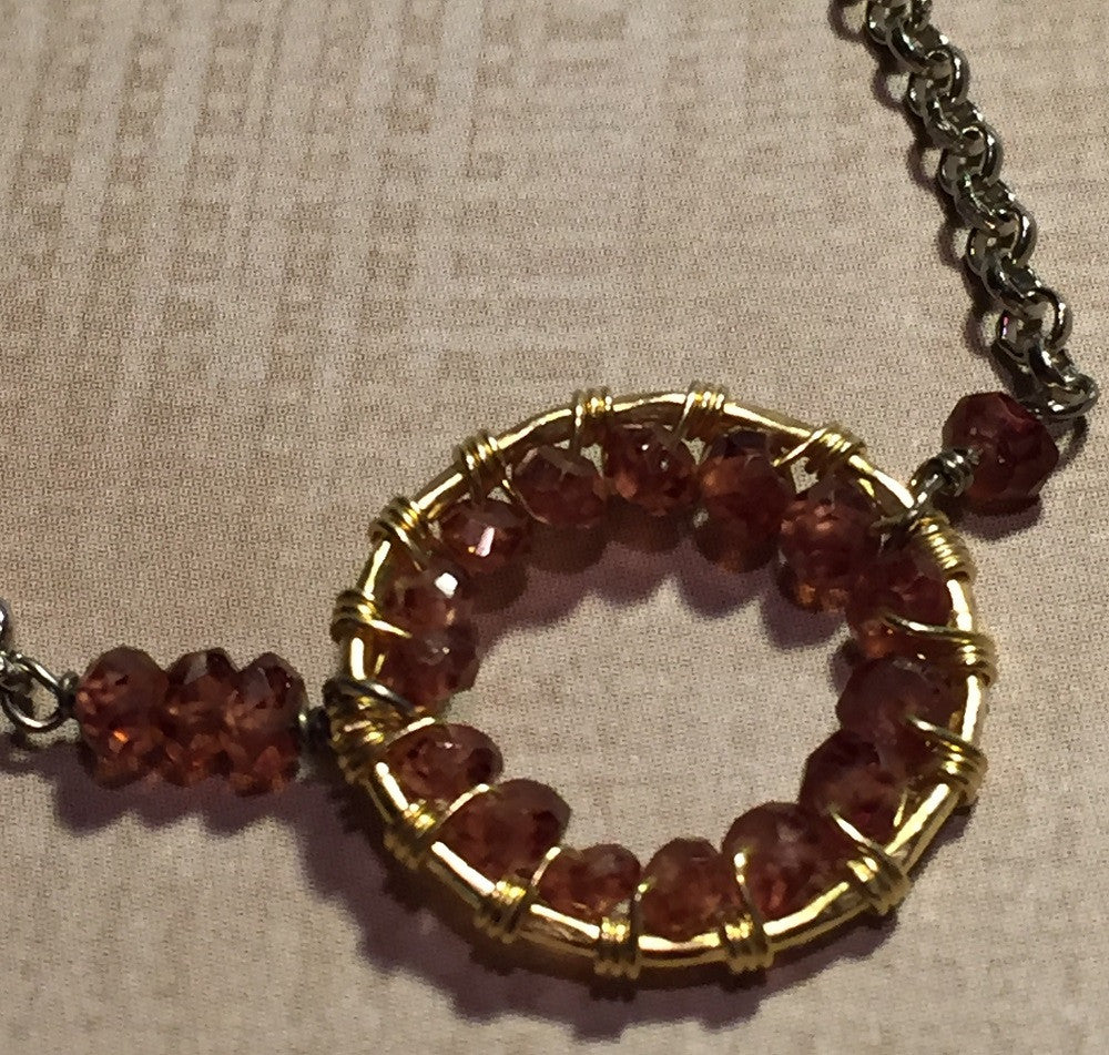 Garnet Two-Tone Long Necklace