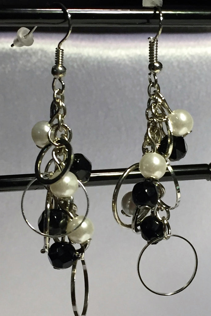 Sexy Long Dangle Earrings - White Glass Pearl and Black Plastic Bead