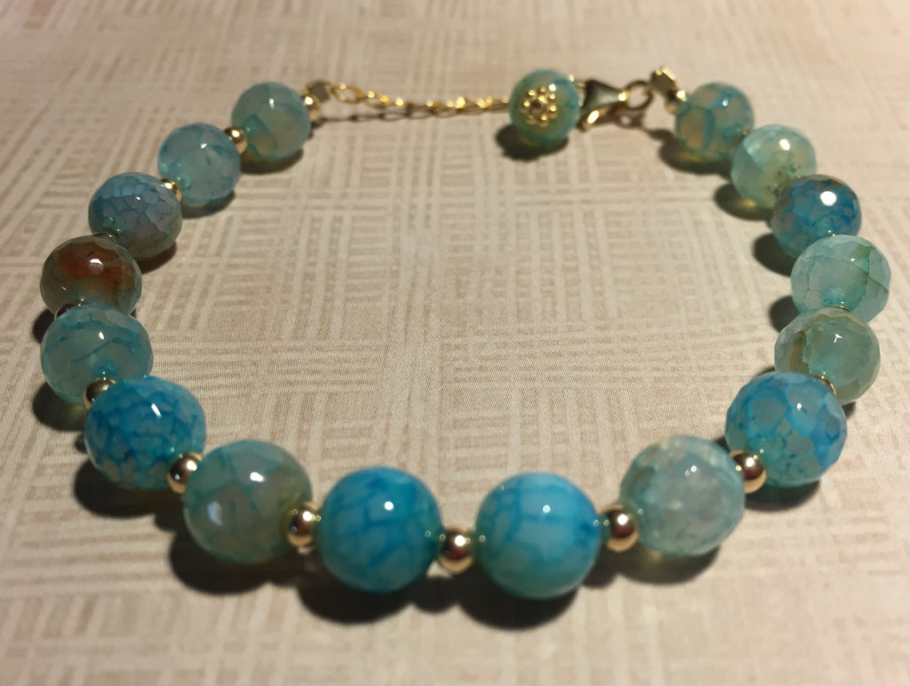 Handmade Gold Filled Blue Fire Agate Bracelet