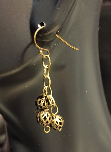 Brass Ball Drop Earrings