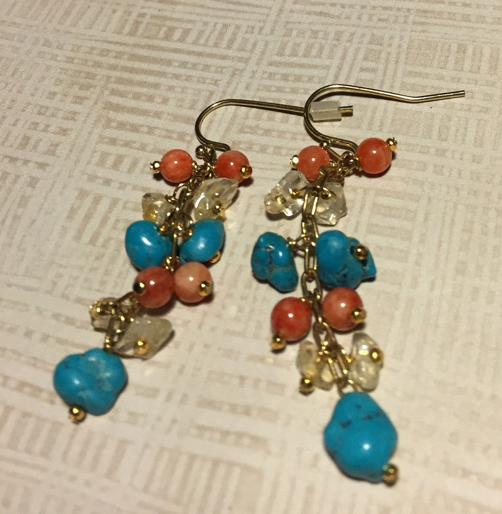 Turquoise, Citrine and Coral Earrings