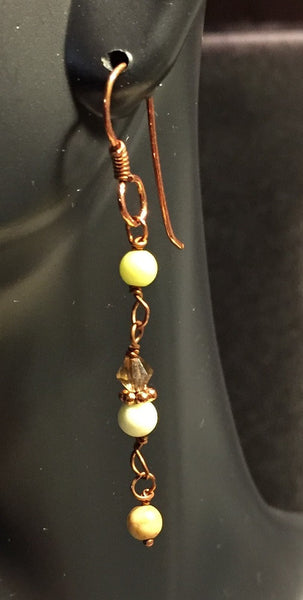 Copper Drop Earrings with Magnesite and Crystal