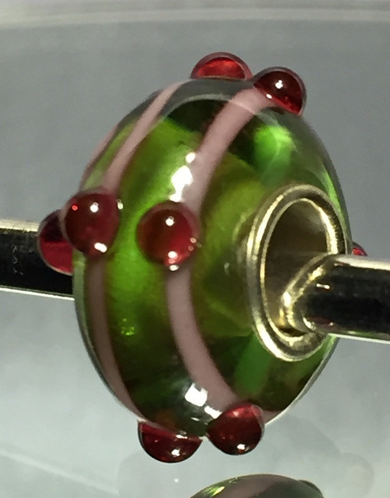 Green with Pink Stripe Lampwork Glass Charm Bead